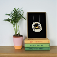 Bumble Bee embroidery necklace