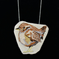 Wren necklace - wearable bird art, wren bird necklace, bird pendant