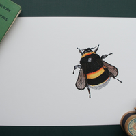 Bumble Bee A4 print of free motion embroidery