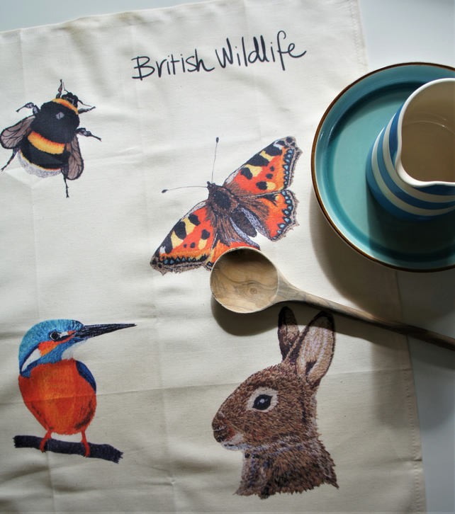 British Wildlife Tea Towel - featuring a print of 5 of my embroideries