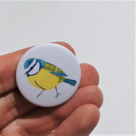 Pin badge with image of my blue tit free motion embroidery