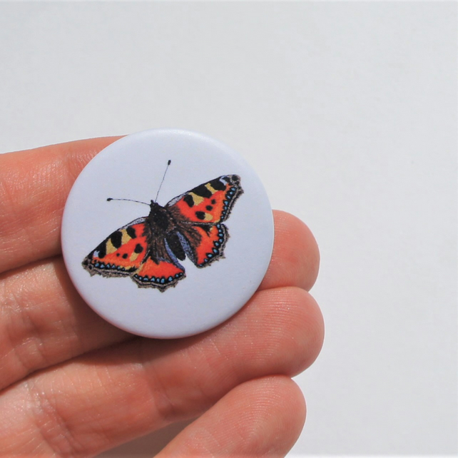 Pin badge with image of tortoiseshell butterfly free motion embroidery