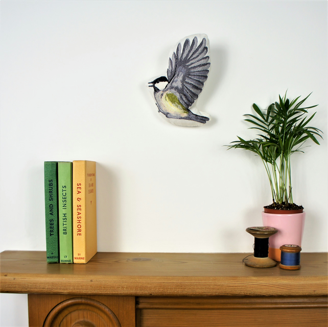 Coal Tit free motion embroidery wall sculpture