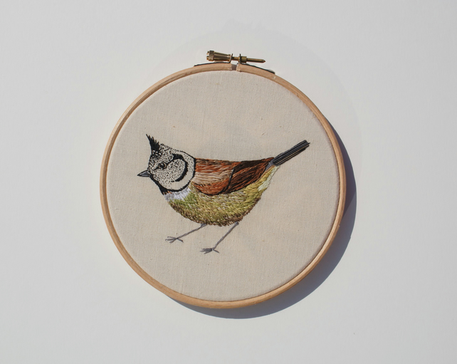 Crested Tit hand embroidery