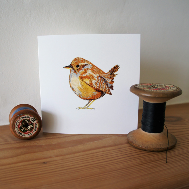 Wren blank greeting cards - set of 4 cards - image of a free motion embroidery