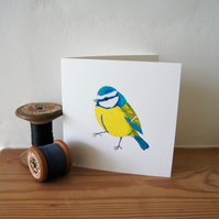 Blue tit set of 4 blank cards or notelets