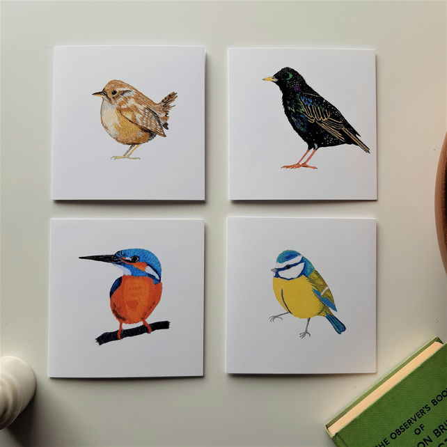 Set of 4 notelets featuring 4 prints of my embroidered birds - blank