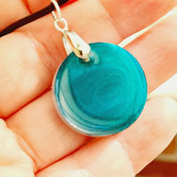Ocean coloured unisex pendants on leather cord
