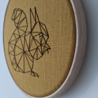 Hand Embroidered Squirrel woodland hoop art mini small cute geometric