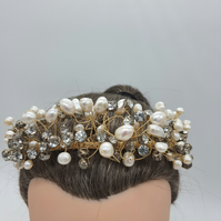 Freshwater, culture pearl and  crystal tiara