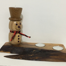 tea- light candle holder Christmas Hand made wood turned snowman