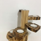 Rustic spalted Birch & Cherry Wood Tea-Light Candle Holder
