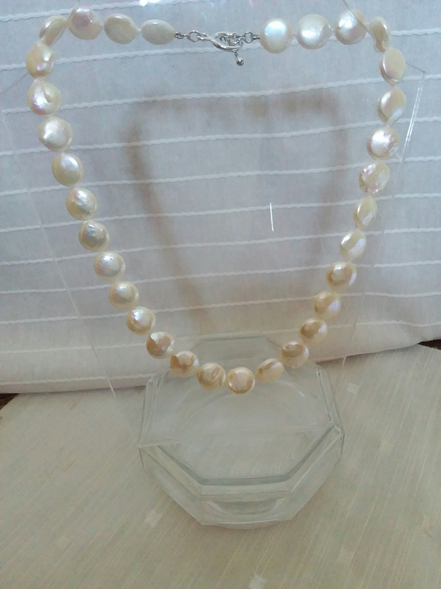 "White 12mm diam. Coin Pearl Necklace 17"" Hand Knotted. Silver Toggle Clasp"