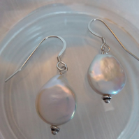 Lilac Rainbow White Freshwater Pearl Drop Earrings 2.3cm drop. Silver tops