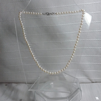 Creamy White AA quality 5mm Cultured Pearls 16in Hand Knotted Silver Clasp