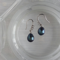 Small Drop Peacock Blue Freshwater Pearl Earrings with Silver and Crystal tops