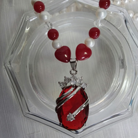 White Freshwater Pearl Red Carnelian Glass Bead and Crystal Necklace 18in