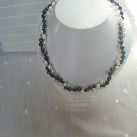 Black and White Cultured Pearl Twist Necklace 2-strand 17in with Silver Clasp