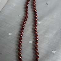 Autumn Red Golden Brown 10mm Pearl Necklace 18in Knotted SilverToggle Clasp