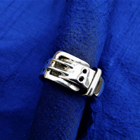 Chunky Silver Belt Ring