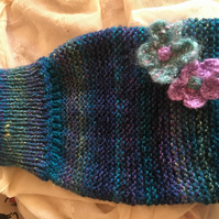Cosy hand knitted chunky hot water bottle cover