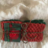 3 hand knitted cotton dish cloths