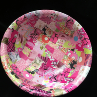 All in the pink Decopatched bamboo bowl