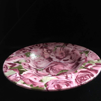 Floral rose Decopatched  wooden dish