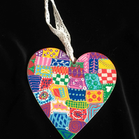 Hand painted funky wooden heart