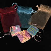 3 wooden hand decorated arty keyrings