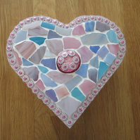 Mosaic Heart Jewellery Trinket keepsake Box. Pink.