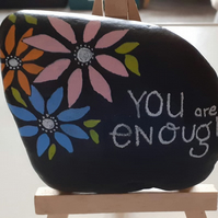 You are enough stone painting