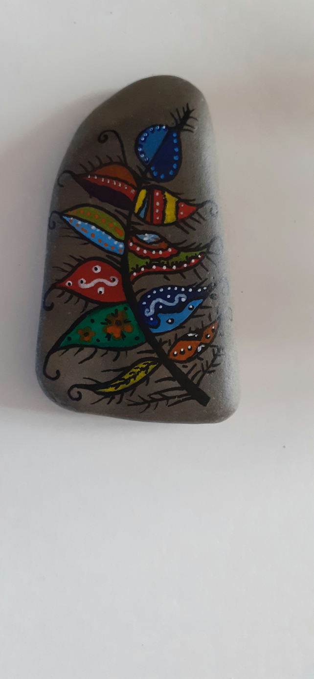 Feather stone painting