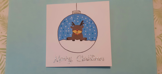 Reindeer Bauble Card