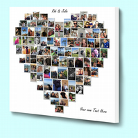Fantastic Personalised heart shape photo collage box framed canvas print