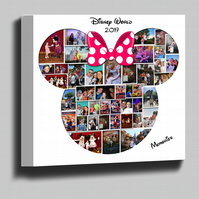 Disney Minnie Mouse shape photo collage montage box framed canvas print
