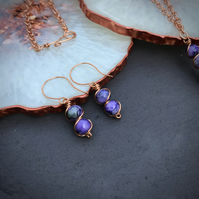 Cosmic Swirl Purple Glass Bead Copper Earrings