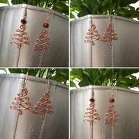 Copper Christmas Tree Earrings