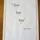 Beep beep beep - charity calligraphy on a4 paper