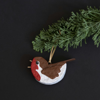 Robin Red-Breast, unique recycled Christmas tree decoration