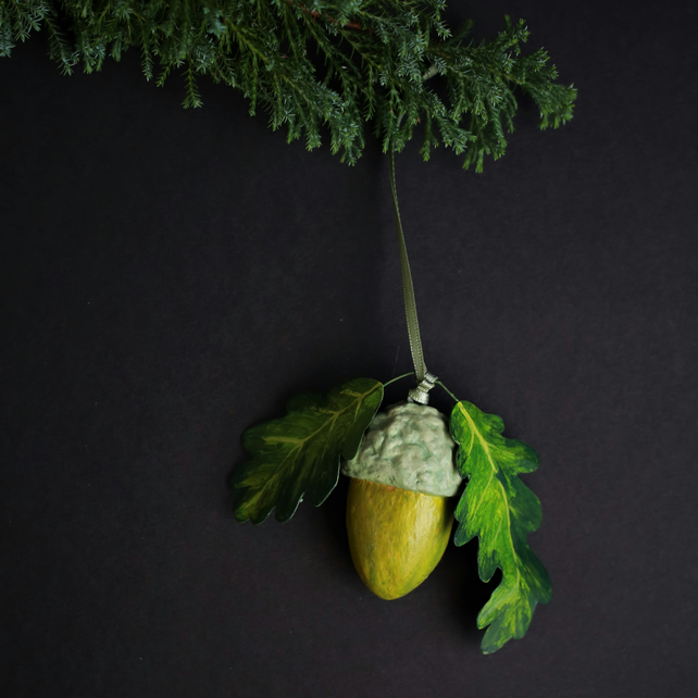 Unique hand painted acorn ornament