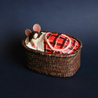 Sleepy Mouse in a basket - Red Tartan