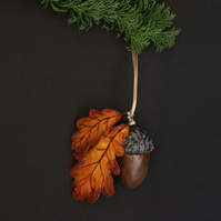 Hand painted autumnal acorn decoration