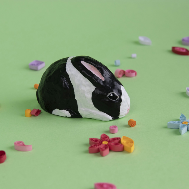 Cute Black and White Dutch Easter Bunny
