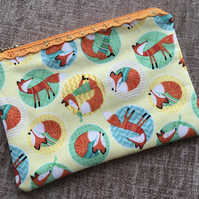 Lace Zipped Cotton Pouch Foxes