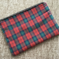 Lace Zipped Cotton Pouch Tartan