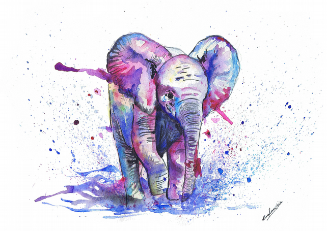 Baby elephant watercolour print Choose from A5, A4, A3.