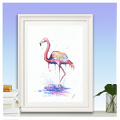 Pink Flamingo watercolour print A4 size.