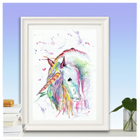 Rainbow Unicorn watercolour print, choose from A5, A4, A3 size.