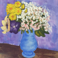 Impressionist style vase of flowers in acrylics